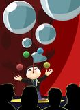 Magician Performing Infront of an Audience. Vector illustration of a multitasking magician performing blowing bubbles and juggling balls in front of the crowd Royalty Free Stock Images