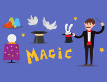 Magician prestidigitator illusionist character tricks juggler vector illustration magic conjurer show cartoon man Royalty Free Stock Photos