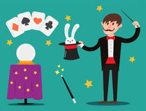 Magician prestidigitator illusionist character tricks juggler vector illustration magic conjurer show cartoon man Stock Photo