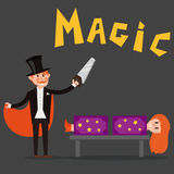 Magician prestidigitator illusionist character tricks juggler vector illustration magic conjurer show cartoon man Stock Image