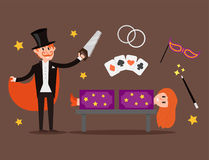 Magician prestidigitator illusionist character tricks juggler vector illustration magic conjurer show cartoon man Royalty Free Stock Photo