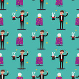 Magician prestidigitator illusionist character tricks seamless pattern vector illustration magic conjurer show cartoon Stock Photography