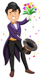 Magician pulling flowers out of a hat. Illustration Royalty Free Stock Photography