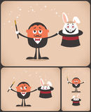Magician. Pulls rabbit out of hat. The illustration is in 3 versions. No transparency and gradients used Stock Photography