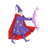 Magician in a purple robe in action. Colorful fairy tale character Illustration Stock Image