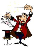 Magician with a rabbit. In his hand Royalty Free Stock Photography