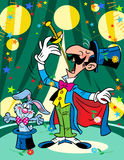 The magician with a rabbit in a circus Stock Photos