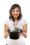 Magician with rabbit Stock Photo