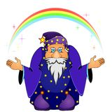 Magician with rainbow Royalty Free Stock Photo
