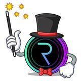 Magician request network coin mascot cartoon. Vector illustration Stock Photography