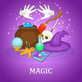Magician rituals concept, cartoon style Royalty Free Stock Image