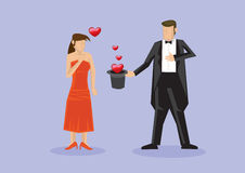 Magician Romantic Surprise Proposal with Magic Tricks Stock Photo
