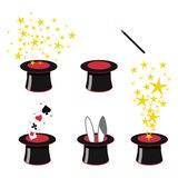 Magician`s black top hats with stardust, bunny ears and playing cards. Magic clip art - 5 black and red magicians top hats with stars, playing cards, bunny ears stock illustration