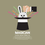 Magician's Hand With Rabbit In The Hat. Vector Illustration Royalty Free Stock Images