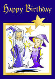 Magician Merlin Morgana Happy Birthday Cartoon. Magician and witch, for invitation card Stock Images