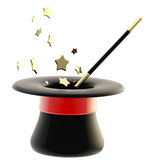 Magician's hat with a magic wand inside Royalty Free Stock Photography
