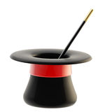 Magician's hat with a magic wand inside. Magician's black hat with a glossy red tape and magic wand inside it, isolated on white Stock Images