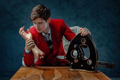 Magician with severed hand. Royalty Free Stock Photos