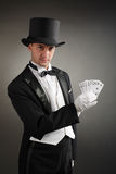 Magician show cards. On black background Royalty Free Stock Photography