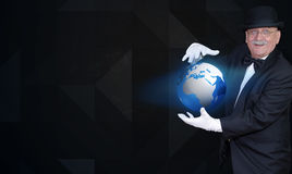 Magician showing globe, banner Royalty Free Stock Photography