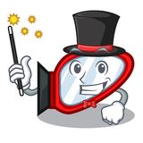 Magician side mirror next the mascot table vector illustration