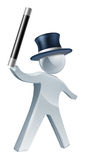 Magician silver person. An illustration of a magician silver person with black top hat and wand Stock Photo