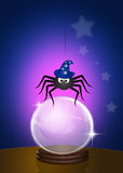 Magician spider. Funny illustration of magician spider Stock Image