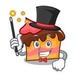 Magician sponge cake mascot cartoon. Vector illustration Royalty Free Stock Photo