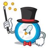 Magician stellar coin character cartoon. Vector illustration Royalty Free Stock Photo