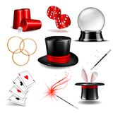 Magician symbol set. With black cylinder hat, falling dice, Magic wand, rabbit ears appear from the magic hat, linking metal rings, four aces deck of cards for Stock Photos