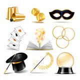 Magician symbol set. With black cylinder hat, falling dice, Magic wand, Open book with magic light, linking metal rings, four aces deck of cards for playing Stock Photo