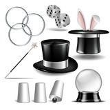 Magician symbol set. With black cylinder hat, falling dice, Magic wand, rabbit ears appear from the magic hat, linking metal rings, Shell game and magic Globe Royalty Free Stock Photos