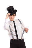 Magician taking hat off. Royalty Free Stock Photos