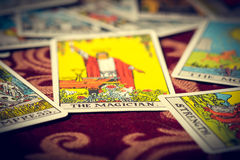 The Magician Tarot Card Macro. Extreme close-up macro shot of The Magician tarot card with shallow depth of field Royalty Free Stock Photo