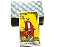 The Magician Tarot Card Power Intelect Magic Control. This card is about Intellect, Miracles, Flash of Inspiration Inspired Magic Power Plans Opportunities stock images
