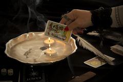 Magician. With Tarot Card and Water in Hollowware Royalty Free Stock Images