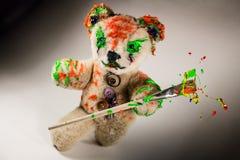 Magician teddy toy make magic Stock Photo