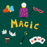 Magician tools art style gambler playful symbol traditional playing graphic drawing vector illustration Royalty Free Stock Images