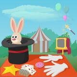 Magician tools concept, cartoon style Stock Photos