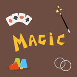 Magician tools poker cards art style gambler playful symbol traditional playing graphic drawing vector illustration Royalty Free Stock Image