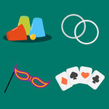 Magician tools poker cards art style gambler playful symbol traditional playing graphic drawing vector illustration Stock Photos