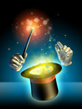 Magician trick. Magician's hand performing some trick using a cylinder hat. Digital illustration royalty free illustration
