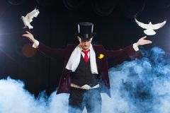 The magician with a two flying white Doves. on a black background shrouded in a beautiful mysterious smoke. The magician with a two flying white Doves. on a stock photography