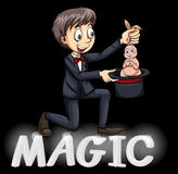 Magician using a hat Royalty Free Stock Images