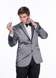 Magician using telekinetic powers. On a white background Stock Photo