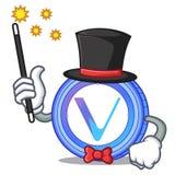 Magician VeChain coin mascot cartoon. Vector illustration Stock Photos