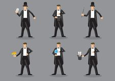 Magician Vector Character Set. Set of six vector cartoon illustration of magician character performing different magic tricks isolated on grey background Stock Images