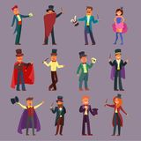 Magician vector illusionist show magic man illusion or magical illusionism and cartoon character person in hat show Stock Photography