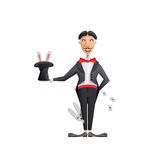 Magician vector illustration. Vector illustration of a magician who shows the show with rabbit in the hat and playing cards, painted in flat cartoon style Royalty Free Stock Photo
