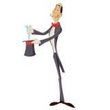 Magician. Vector image of an  cartoon haughty magician Royalty Free Stock Photo